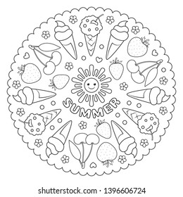 Coloring page mandala for kids with summer fruit, berries and ice cream. Vector Illustration.