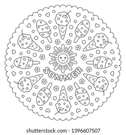 Coloring page mandala for kids with summer ice cream. Vector Illustration.