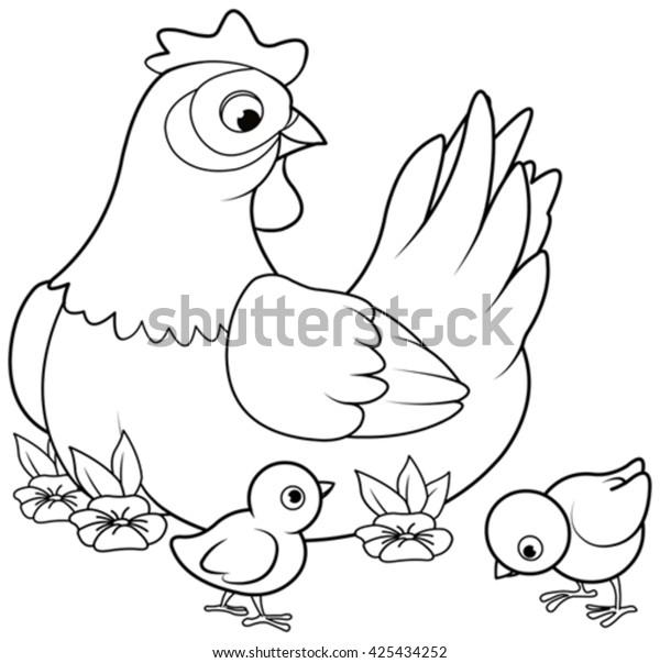 Image Vectorielle De Stock De Page De Coloriage De Poules Meres