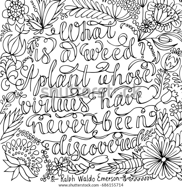 Coloring Page Motivational Quote Coloring Adult Stock Vector