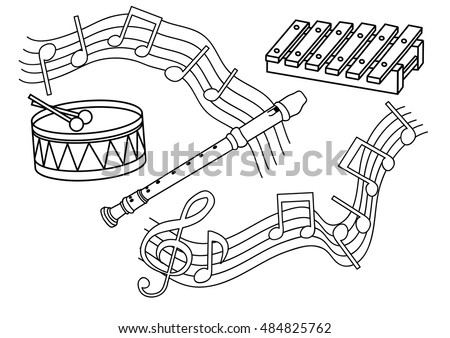 Coloring Page Musical Instruments Stock Vector Royalty Free