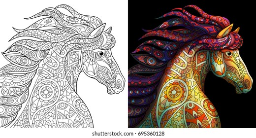 Coloring page of mustang horse. Colorless and color samples for adult antistress coloring book cover.