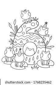 Coloring page - Numbers.  Education and fun for children's. Baby first numbers - colorize and count. Printable worksheet -  six with frogs