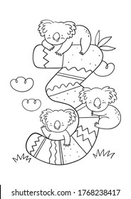 Coloring page - Numbers.  Education and fun for children's. Baby first numbers - colorize and count. Printable worksheet - 3 three with koalas