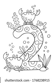 Coloring page - Numbers.  Education and fun for children's. Baby first numbers - colorize and count. Printable worksheet - 2 two with crabs