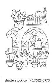 Coloring page - Numbers.  Education and fun for children's. Baby first numbers - colorize and count. Printable worksheet - 10 ten cacti and plants