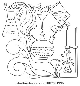 Coloring page on science theme, laboratory glassware and equipment with fantasy patterns, antistress coloring about experiment vector illustration