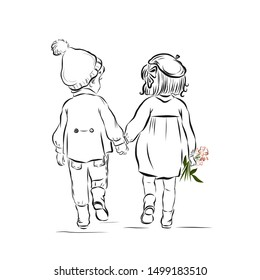 Coloring page - on walk boy and girl with flowers hold hands. Date children. Valentine's Day.