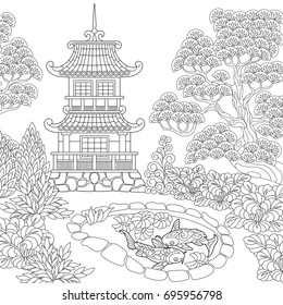Coloring page of oriental temple. Japanese or chinese pagoda tower. Freehand sketch drawing for adult antistress coloring book in zentangle style.