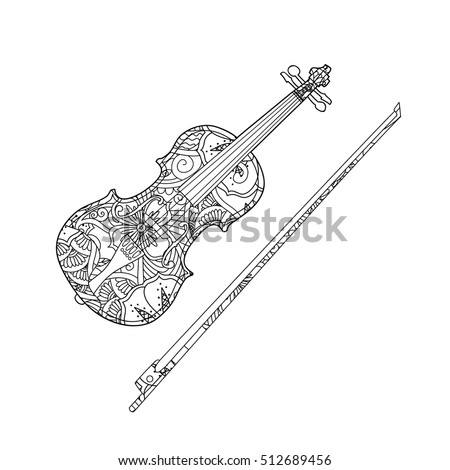 Coloring Page Ornamental Violin Fiddlestick Isolated Stock
