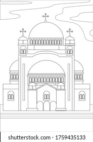 Coloring page with orthodox cathedral or christian temple as a concept of religious architecture. Outline or stock vector linear illustration with a building in Greece, Bulgaria, Ukraine or Russia
