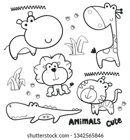 Coloring page outline, Cartoon animals collection, Cute hippo, lion, giraffe, tiger and crocodile isolated on white background illustration vector.