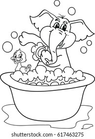 Coloring page outline of cartoon baby elephant taking a bath with a duck. Vector illustration, coloring book for kids.
