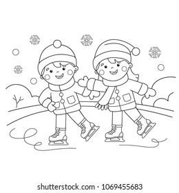 Coloring Page Outline Of cartoon boy with girl skating. Winter sports. Coloring book for kids
