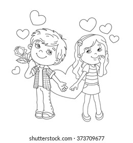 Coloring Page Outline Of cartoon Boy and girl with hearts. Coloring book for kids. Valentine's day