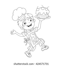 Coloring Page Outline Of Cartoon Boy Chef With Cake Book For Kids