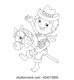 Coloring Page Outline Of cartoon Boy playing cowboy with toy horse. Coloring book for kids
