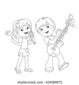 Boy Girl Coloring Page Images Stock Photos Vectors Shutterstock