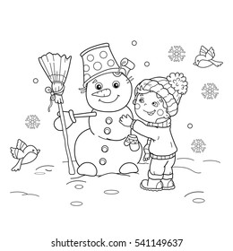 Coloring Page Outline Of cartoon boy with snowman. Winter. Coloring book for kids