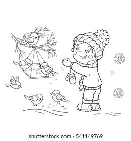 Coloring Page Outline Of Cartoon Boy Feeding Birds Bird Feeder Winter Book