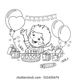 coloring page outline cartoon boy 260nw