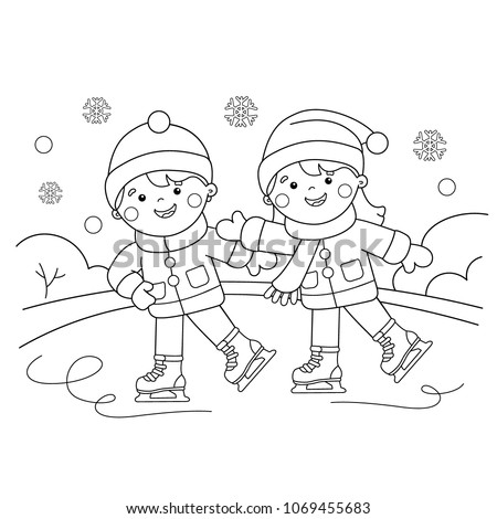 Coloring Page Outline Cartoon Boy Girl Stock Vector Royalty Free