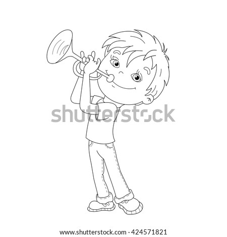 Coloring Page Outline Cartoon Boy Playing Stock Vector Royalty Free