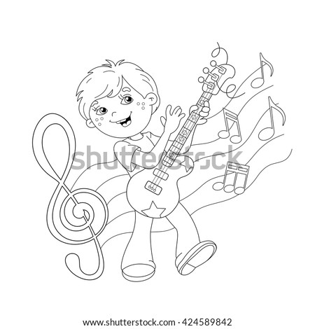 Coloring Page Outline Of Cartoon Boy Playing Guitar On Stage With Melody And Music