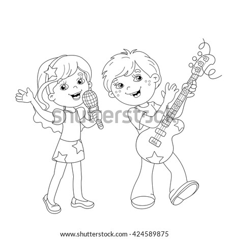 Coloring Page Outline Of Cartoon Boy And Girl Singing A Song With Guitar