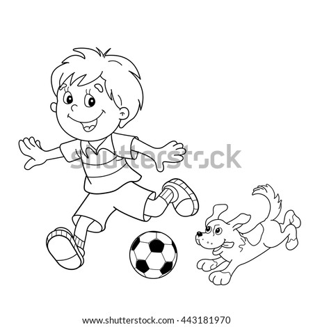 Coloring Page Outline Cartoon Boy Soccer Stock Vector Royalty Free