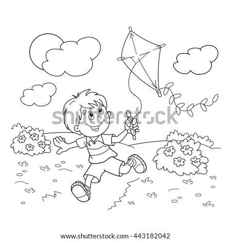 Coloring Page Outline Cartoon Boy Running Stock Vector Royalty Free