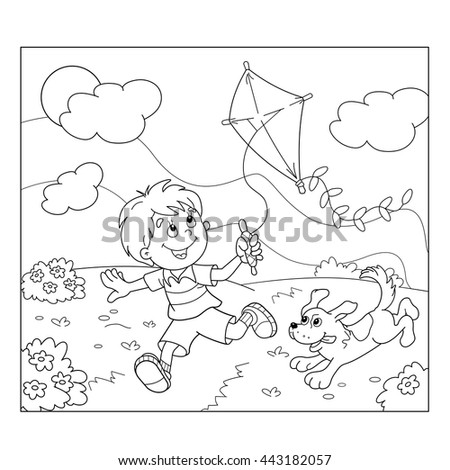 Coloring Page Outline Of Cartoon Boy Running With Kite Dog Book For Kids
