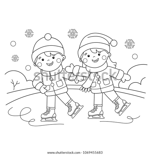 Coloring Page Outline Cartoon Boy Girl Stock Vector (Royalty Free)  1069455683