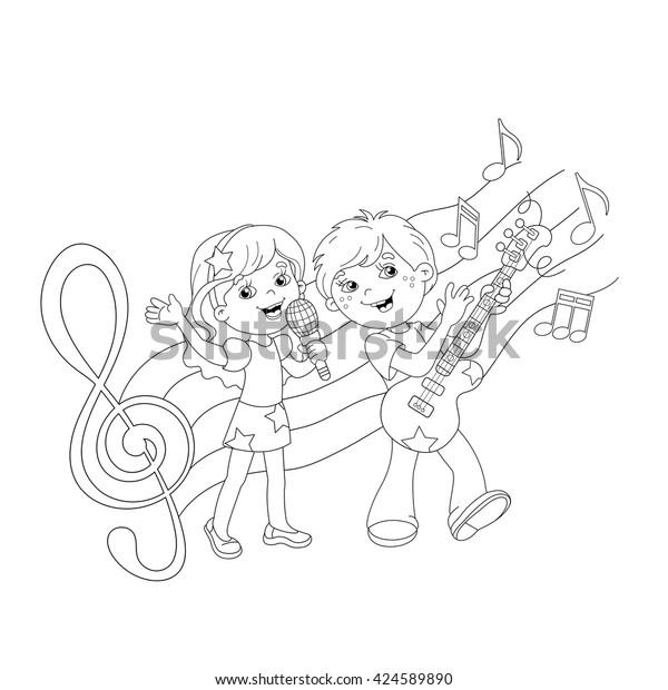 Coloring Page Outline Cartoon Boy Girl Stock Vector