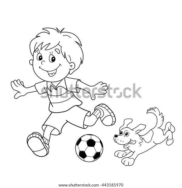 Coloring Page Outline Cartoon Boy Soccer Stock Vector (Royalty Free)  443181970