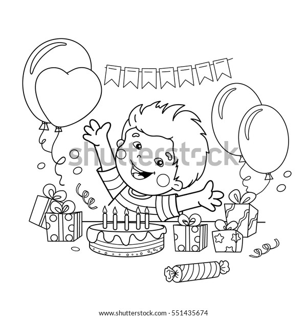Coloring Page Outline Cartoon Boy Gifts Stock Vector