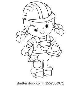 Coloring Page Outline of cartoon builder girl  with cement mortar and trowel. Profession. Coloring book for kids.