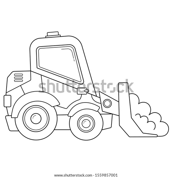 Image Vectorielle De Stock De Page De Coloriage Plan Du Bulldozer 1559857001