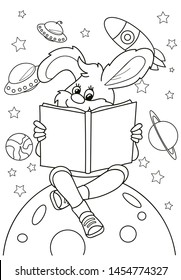 coloring page outline cartoon bunny 260nw