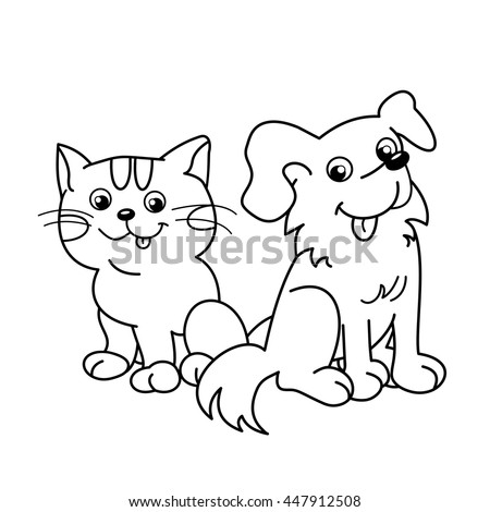 Kitty And Dog Cartoons Outlines