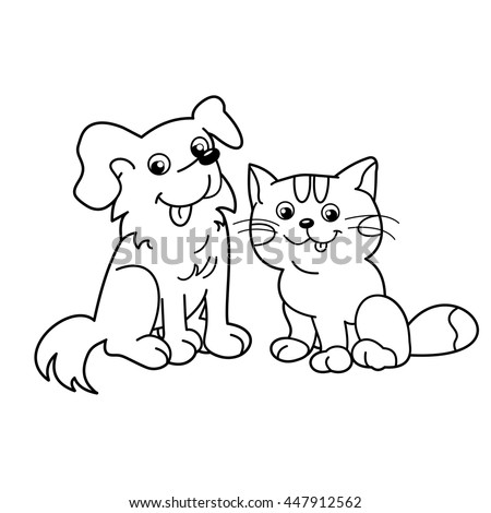 Coloring Page Outline Cartoon Cat Dog Stock Vector