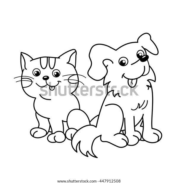 Coloring Page Outline Cartoon Cat Dog Stock Vector Royalty Free 447912508