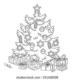 Cartoon christmas tree with gifts coloring