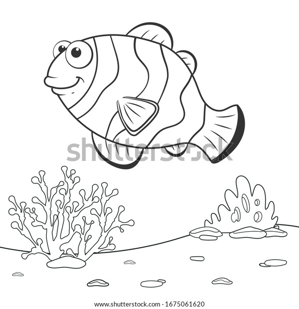 coloring page outline cartoon clown fish stock vector royalty free 1675061620 https www shutterstock com image vector coloring page outline cartoon clown fish 1675061620