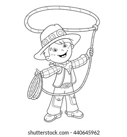 Coloring Page Outline Of cartoon cowboy with lasso. Coloring book for kids