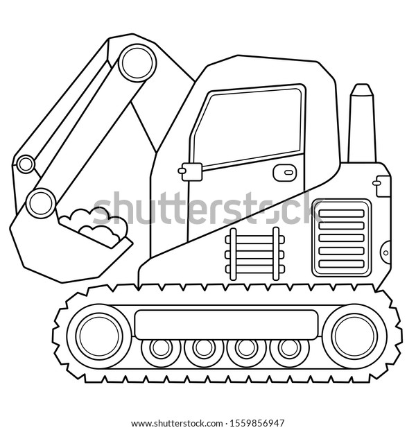 Coloring Page Outline Cartoon Crawler Excavator Stock Vector Royalty Free 1559856947