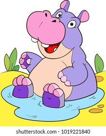 Coloring page outline of cartoon cute hippo in a puddle. Colorful vector illustration, coloring book for kids.