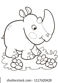Coloring page outline of cartoon cute rhino. Vector illustration, summer coloring book for kids.