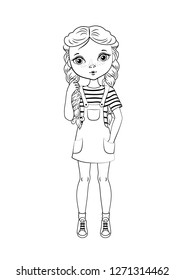 Coloring page outline of cartoon cute girl with plait. Coloring book for kids. Vector illustration,