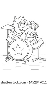 Coloring page outline of cartoon cute dog plays drums. Vector illustration, coloring book for kids.